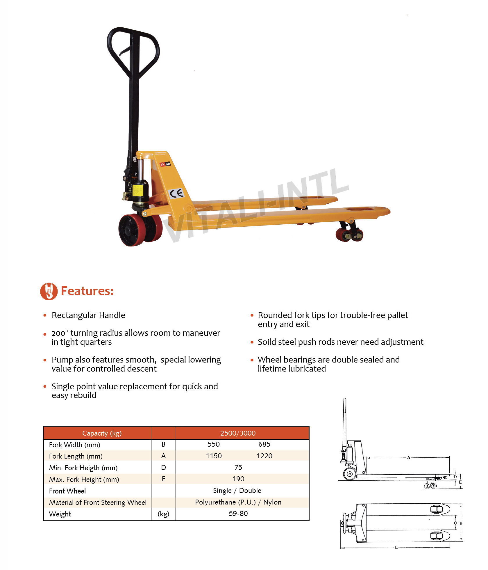 VITALI-INTL Pallet Trucks OBK Type Specifications